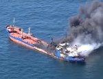 В сети появились первые фото с пожара на танкере в Рижском заливе